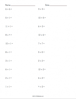 Division Worksheet Example