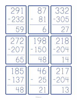 Large Number Subtraction Flashcards Example