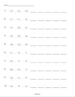 skip counting with negatives worksheet stem sheets. Black Bedroom Furniture Sets. Home Design Ideas