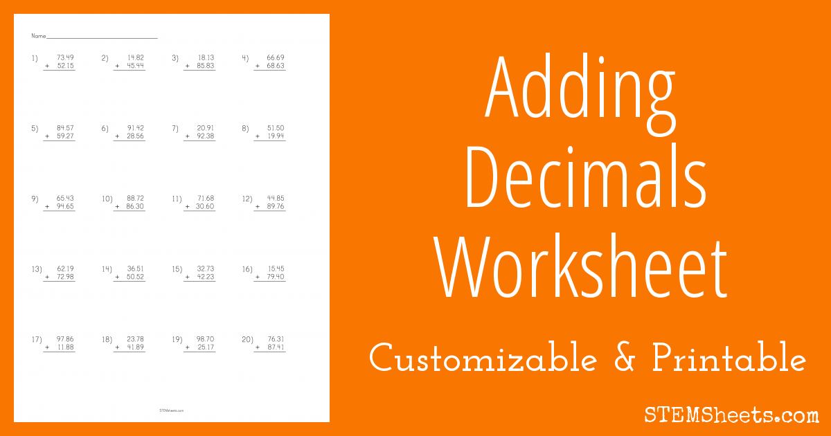 Adding Decimals Worksheet – Addition of Decimals Worksheets