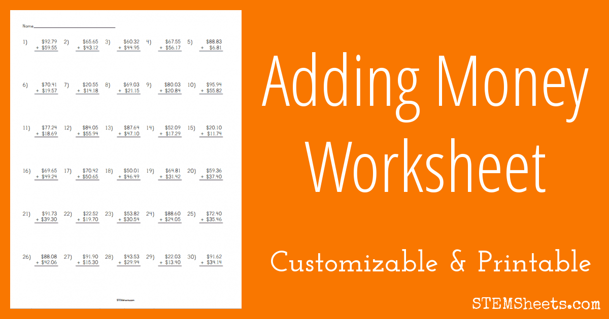 Adding Money Worksheet Stem Sheets