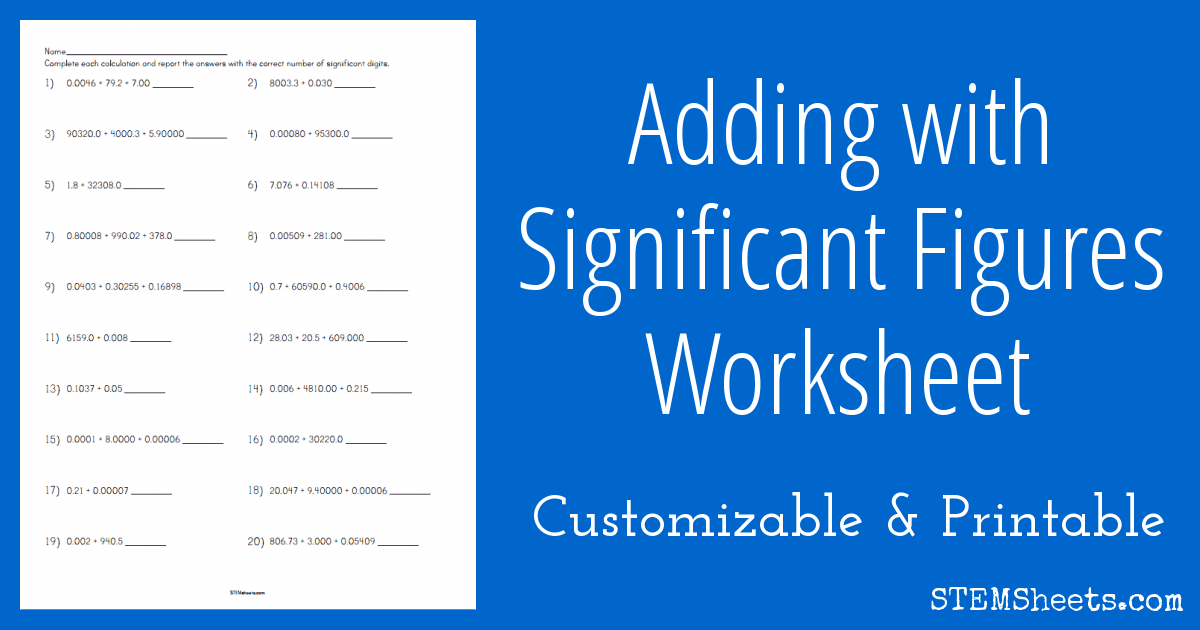Adding With Significant Figures Worksheet Stem Sheets