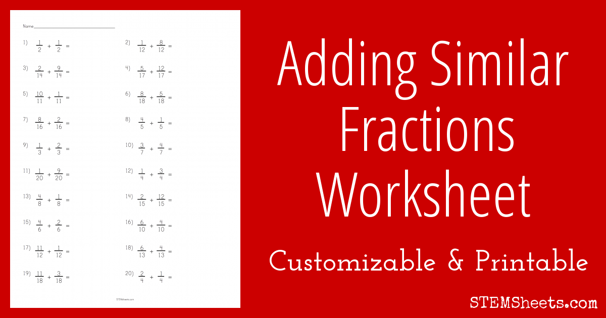 adding similar fractions worksheet