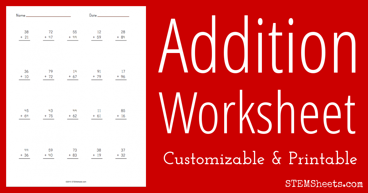 math worksheet : addition worksheet  customizable  stem sheets : Create Addition Worksheets