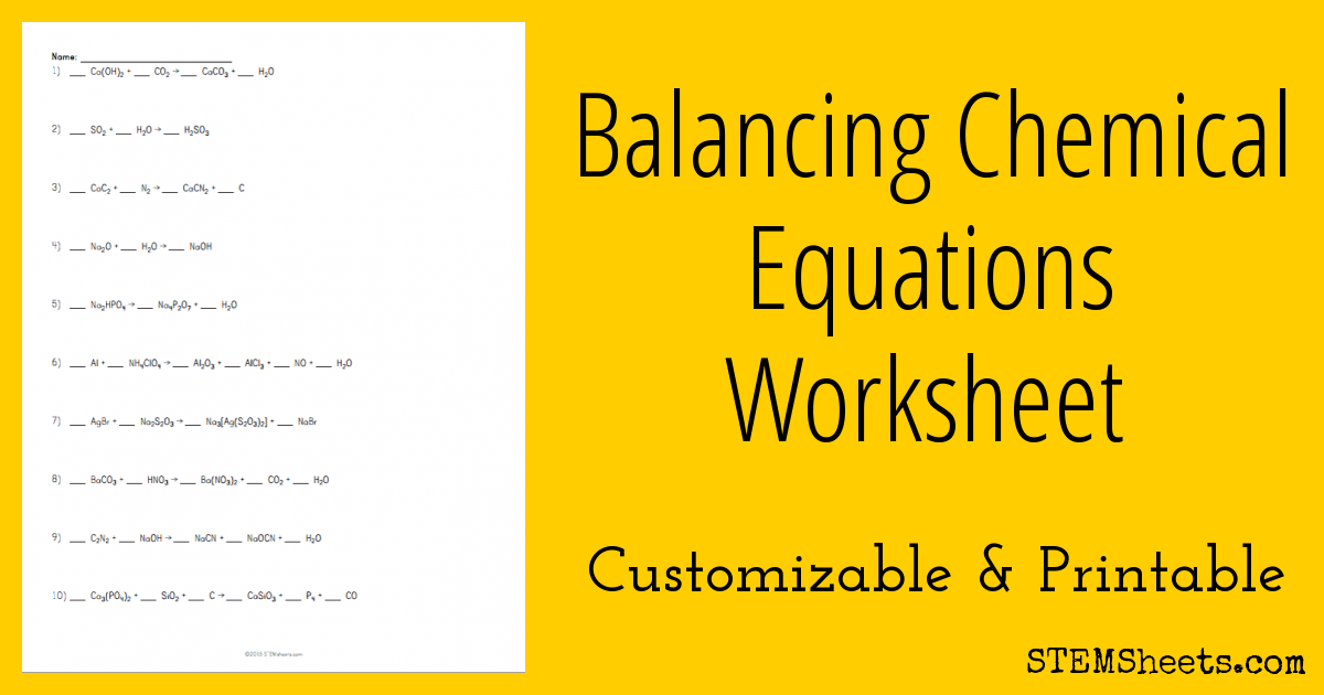 Balancing Chemical Equations Worksheet Stem Sheets