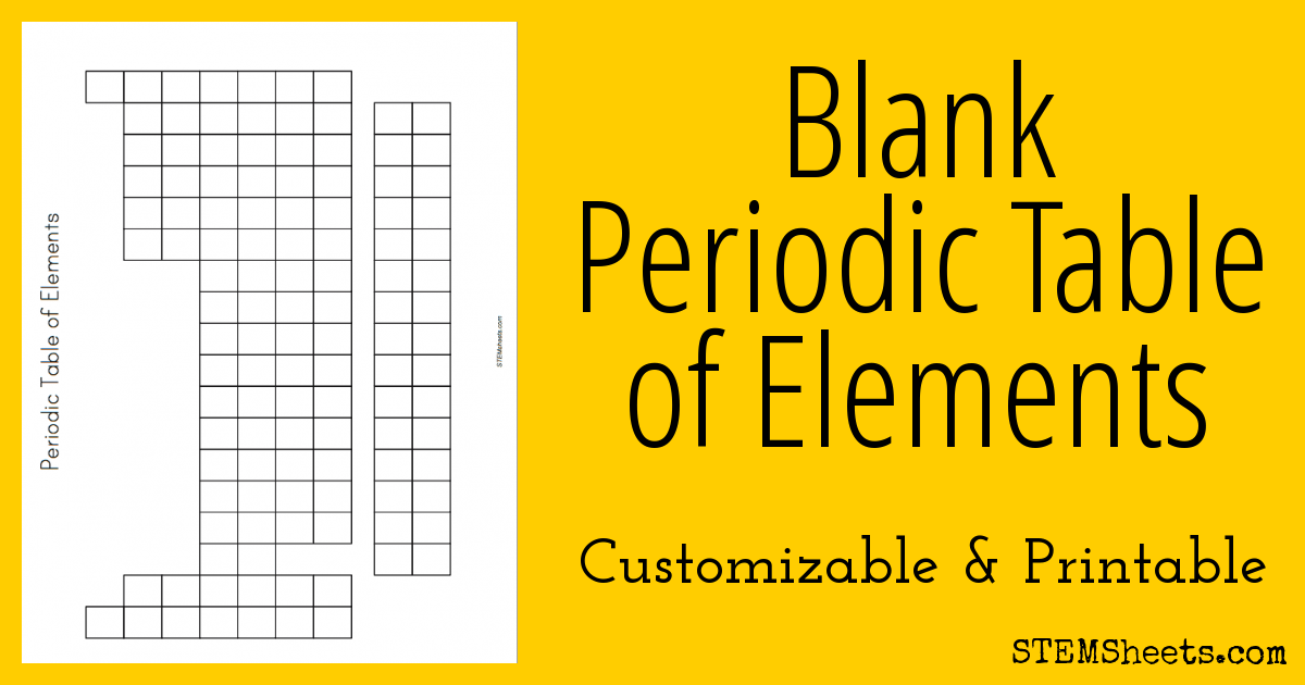 Blank Periodic Table of Elements STEM Sheets – Periodic Table of Elements Worksheet