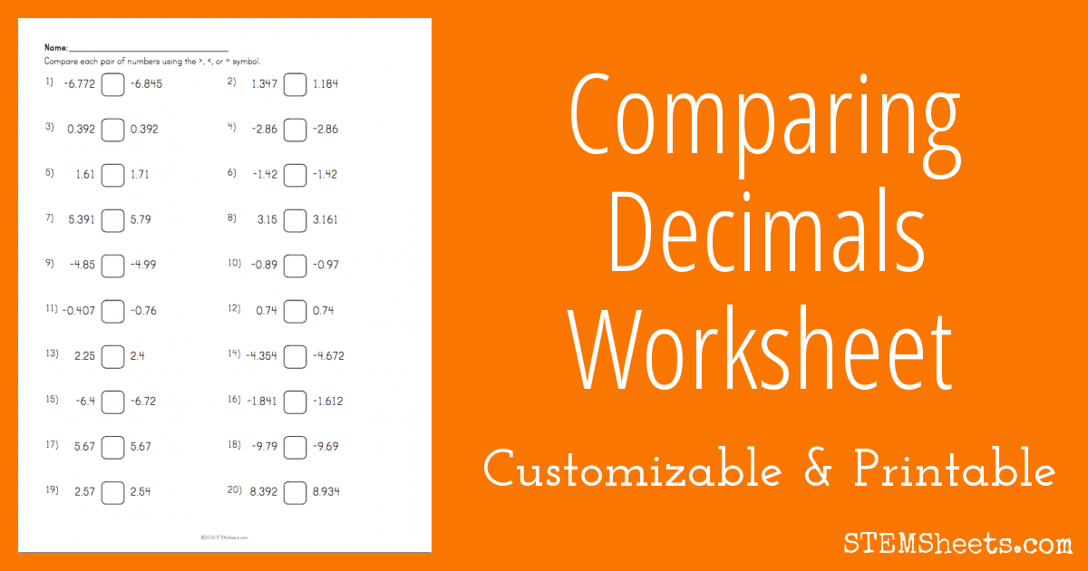 math worksheet : comparing decimals worksheet  stem sheets : Comparing Decimal Numbers Worksheet