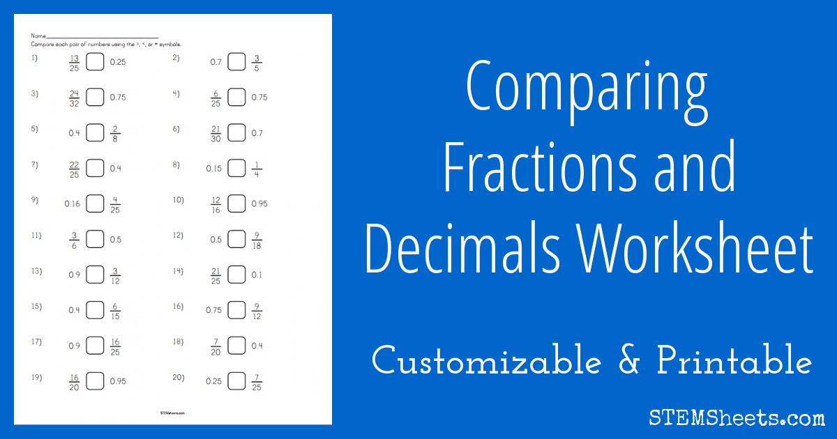 Comparing Fractions and Decimals Worksheet STEM Sheets – Comparing Decimals and Fractions Worksheets