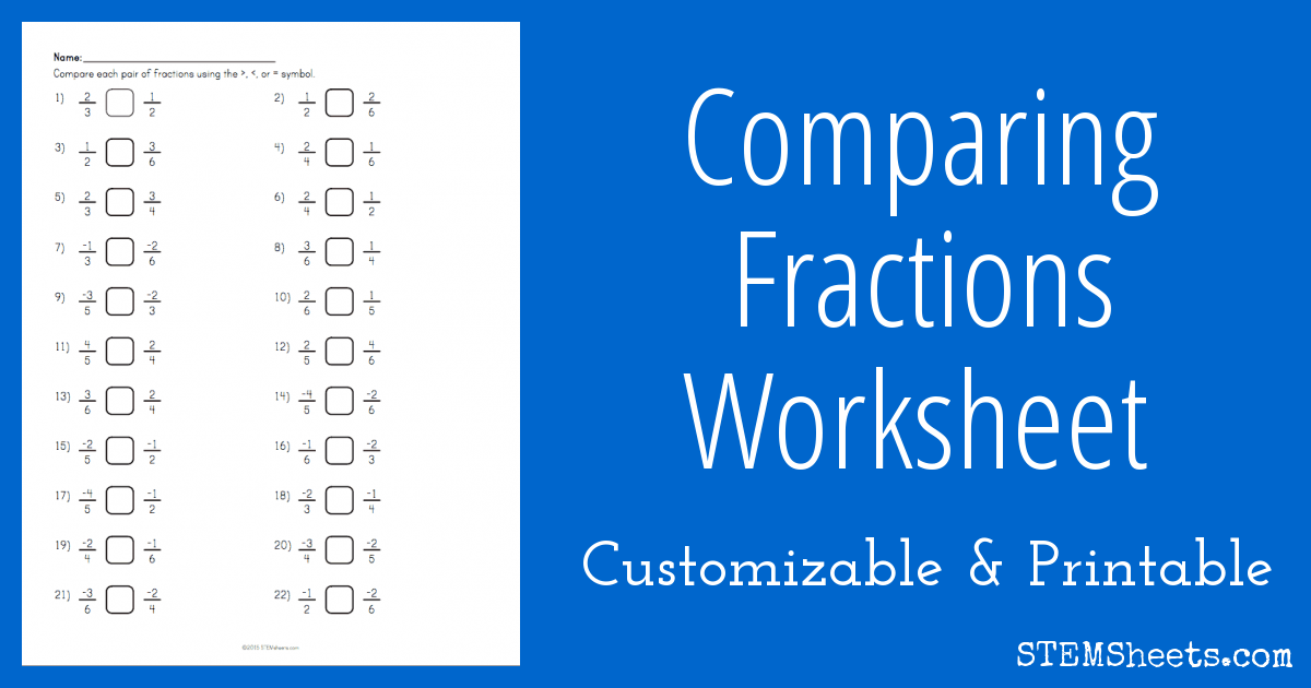 Comparing Fractions Worksheet – Comparing Fraction Worksheet