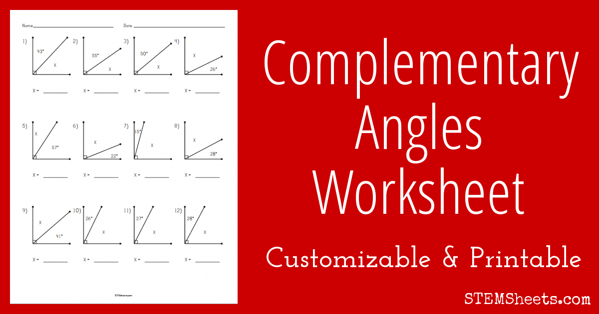 Complementary Angles Worksheet Stem Sheets