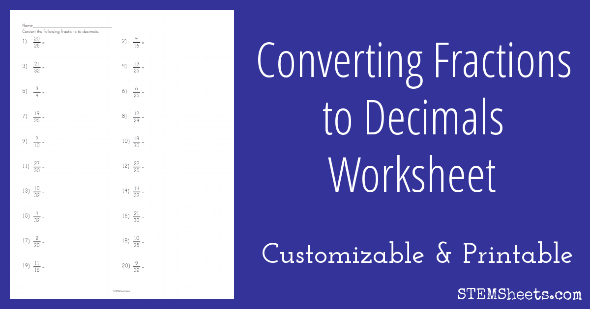 Converting Fractions to Decimals Worksheet |STEM Sheets