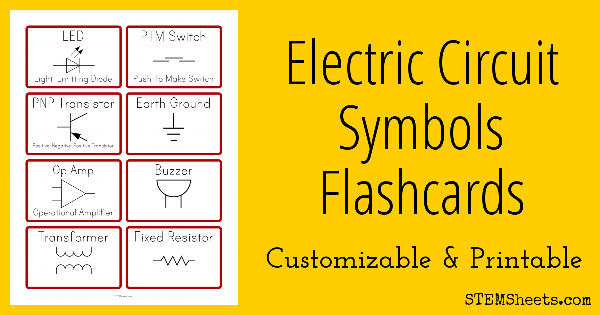 Electric Circuit Symbols Flashcards | STEM Sheets