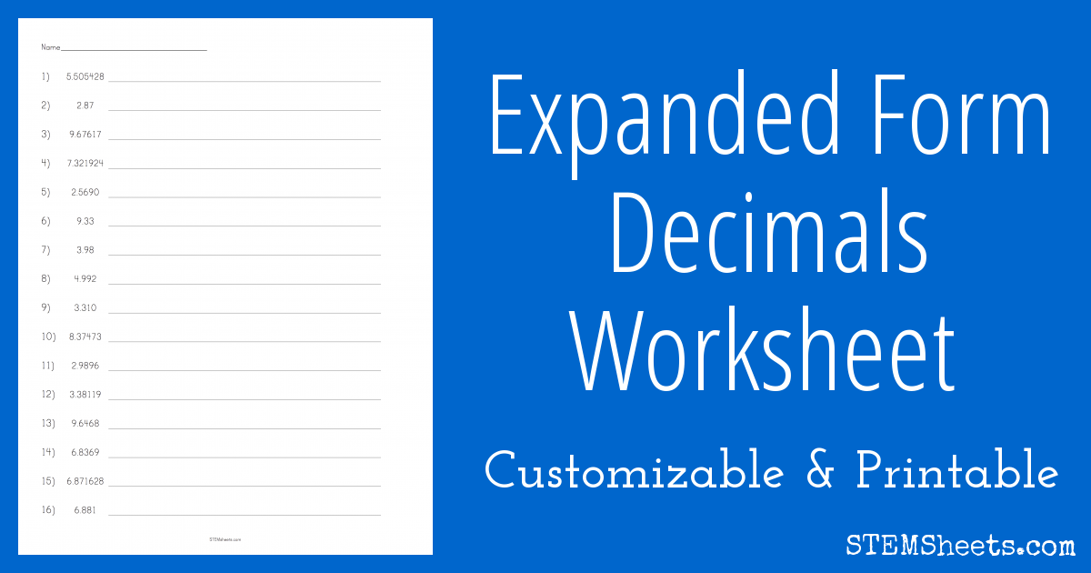 Expanded Form Decimals Worksheet | STEM Sheets