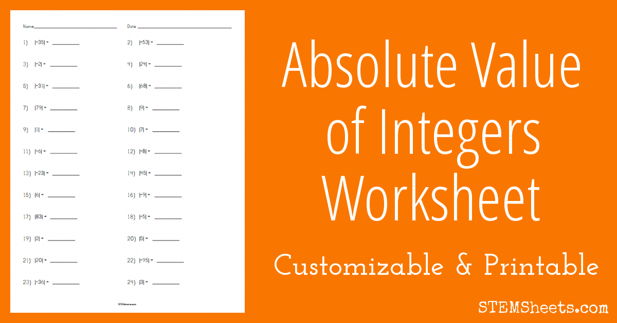 Absolute Value Of Integers Worksheet Stem Sheets