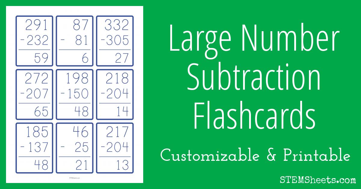 Large Number Subtraction Flashcards | STEM Sheets