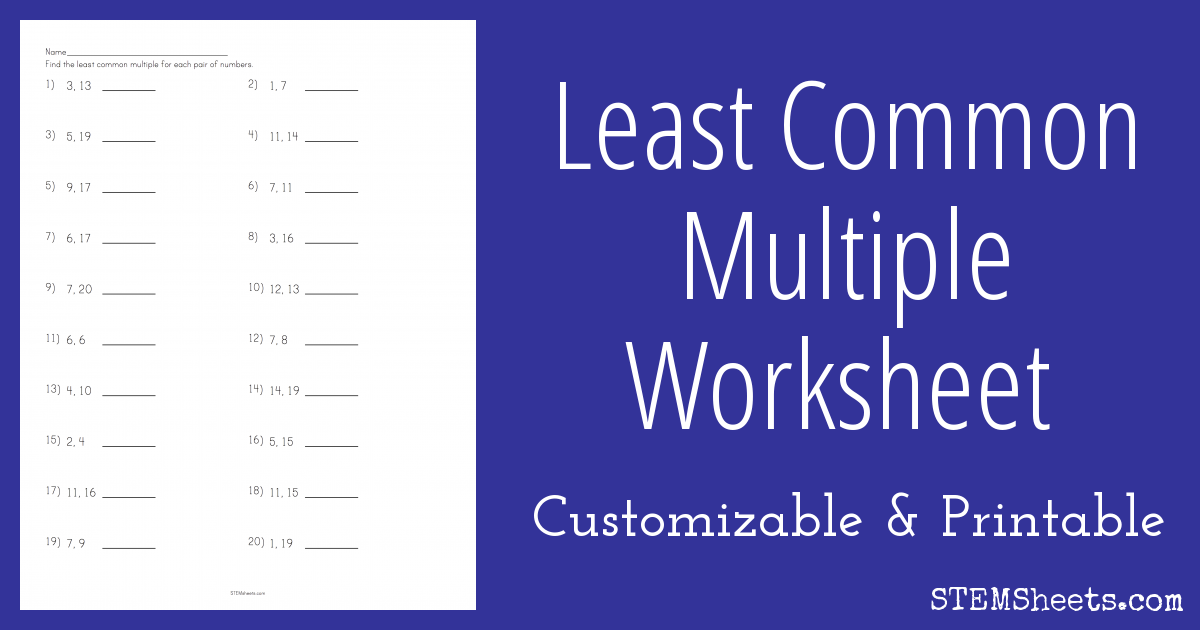Least Common Multiple Worksheet – Least Common Multiple Worksheets