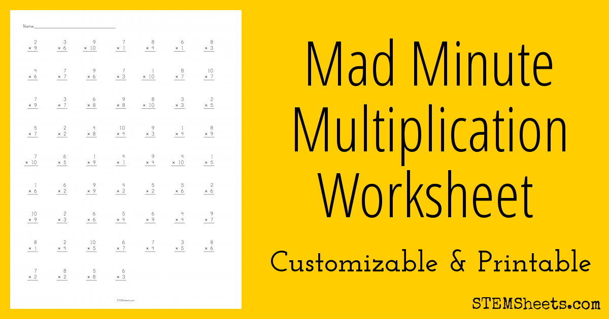 Mad Minute Multiplication Worksheet | STEM Sheets