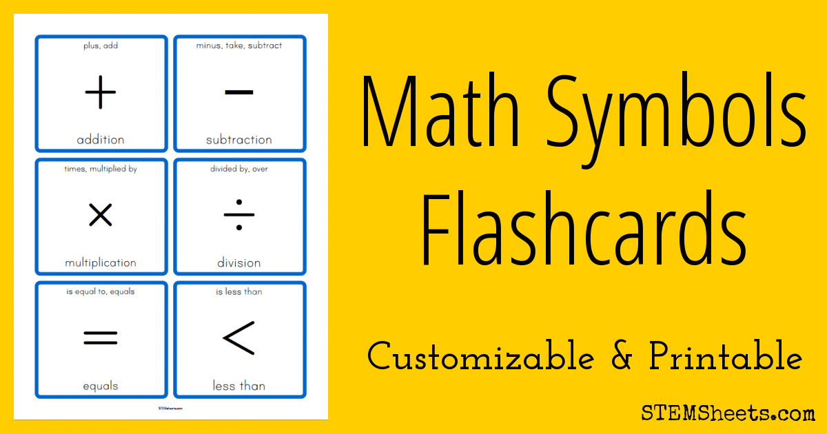 Math Symbols Flashcards Stem Sheets