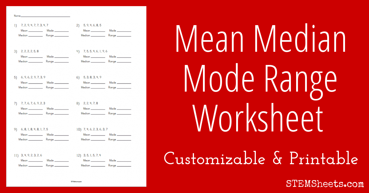 Printable Worksheets finding the mean median and mode worksheets : Mean Median Mode Range Worksheet | STEM Sheets