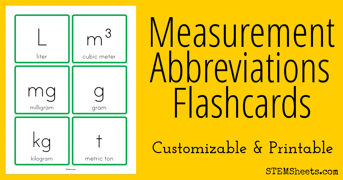 Measurement Abbreviations Flashcards Stem Sheets