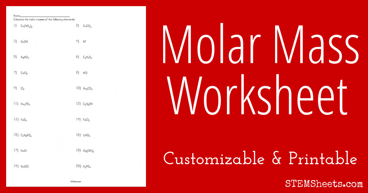 Printables Molar Mass Worksheet molar mass worksheet stem sheets