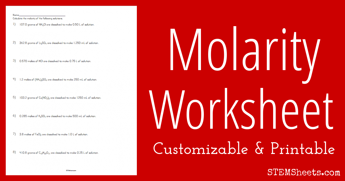 Worksheets Molarity Worksheet molarity worksheet stem sheets