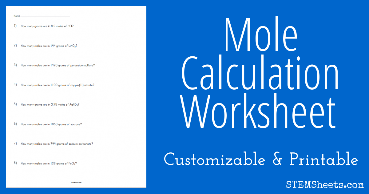Mole Calculation Worksheet : STEM Sheets