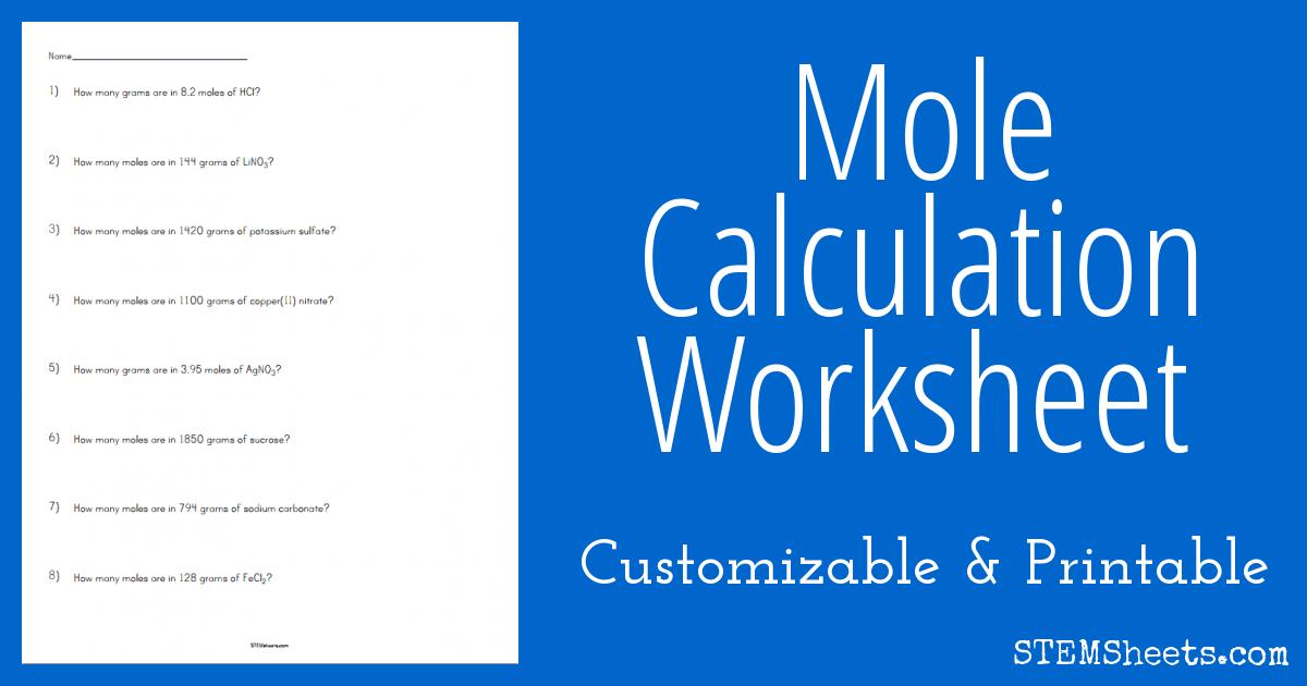 Mole Calculation Worksheet Stem Sheets