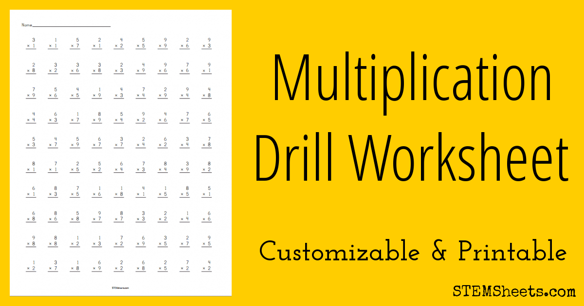 multiplication drill worksheet  stem sheets