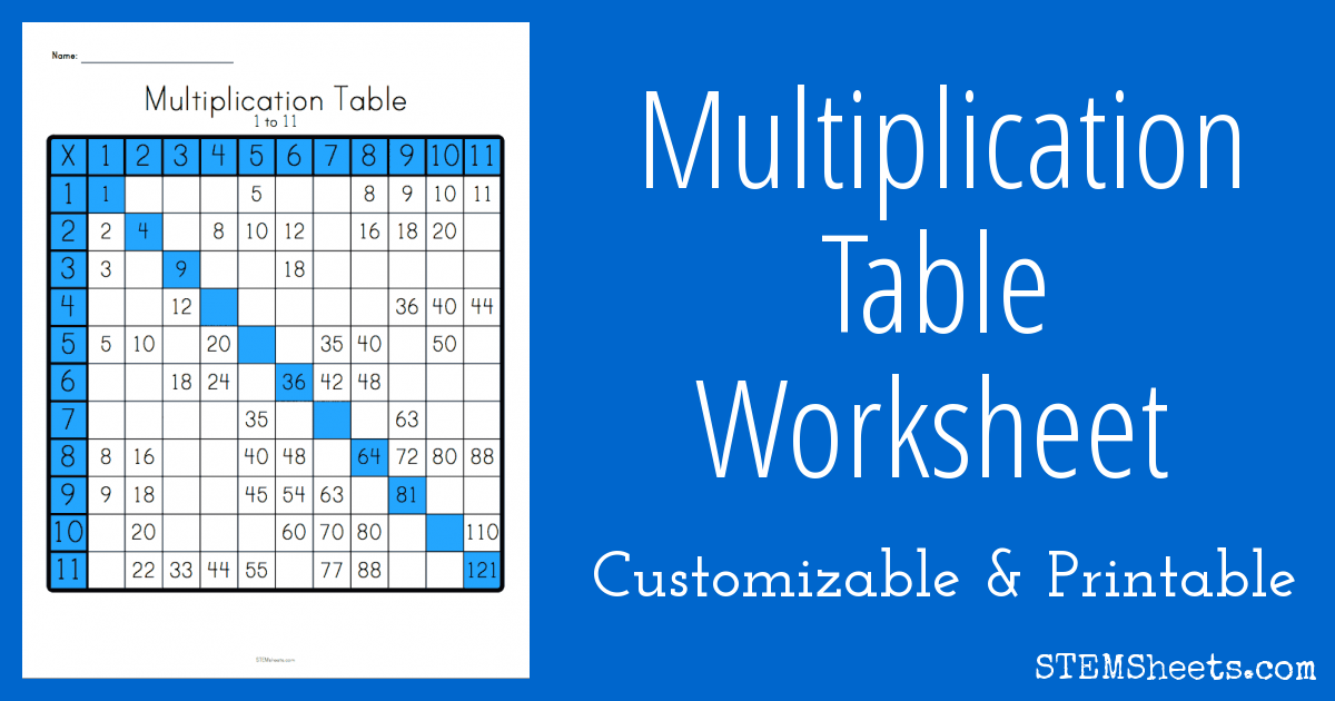 Multiplication Table Worksheet | STEM Sheets