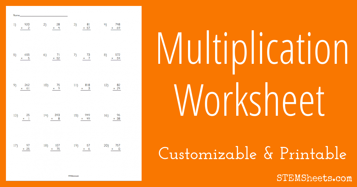 Multiplication Worksheet Customizable – Custom Multiplication Worksheets