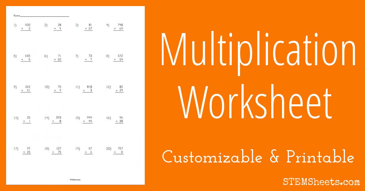 Math Worksheets customizable math worksheets Multiplication Worksheet - Customizable | STEM Sheets