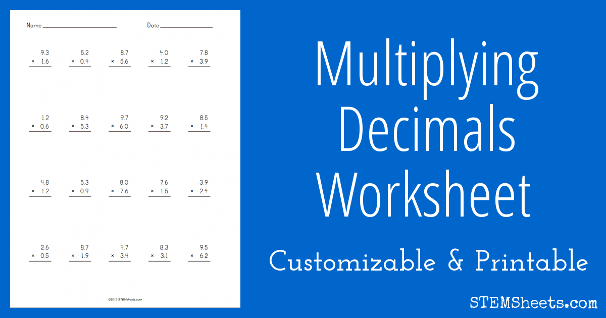 Multiplying Decimals Worksheet – Multiplying with Decimals Worksheets