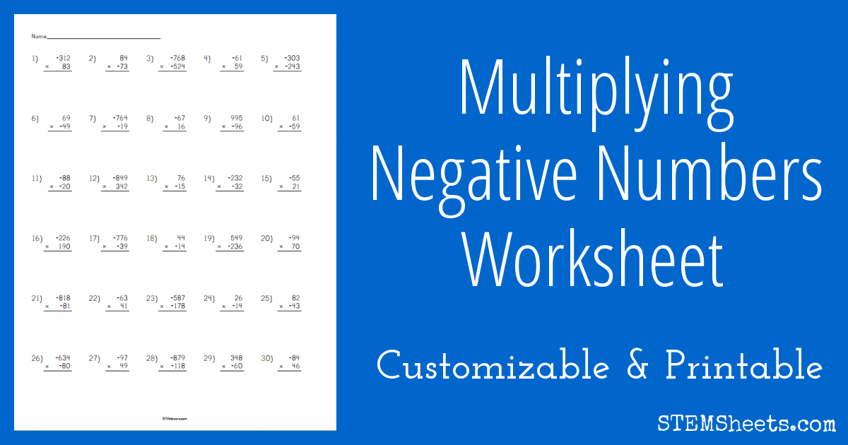math worksheet : multiplying negative numbers worksheet  stem sheets : Math Worksheets Negative Numbers