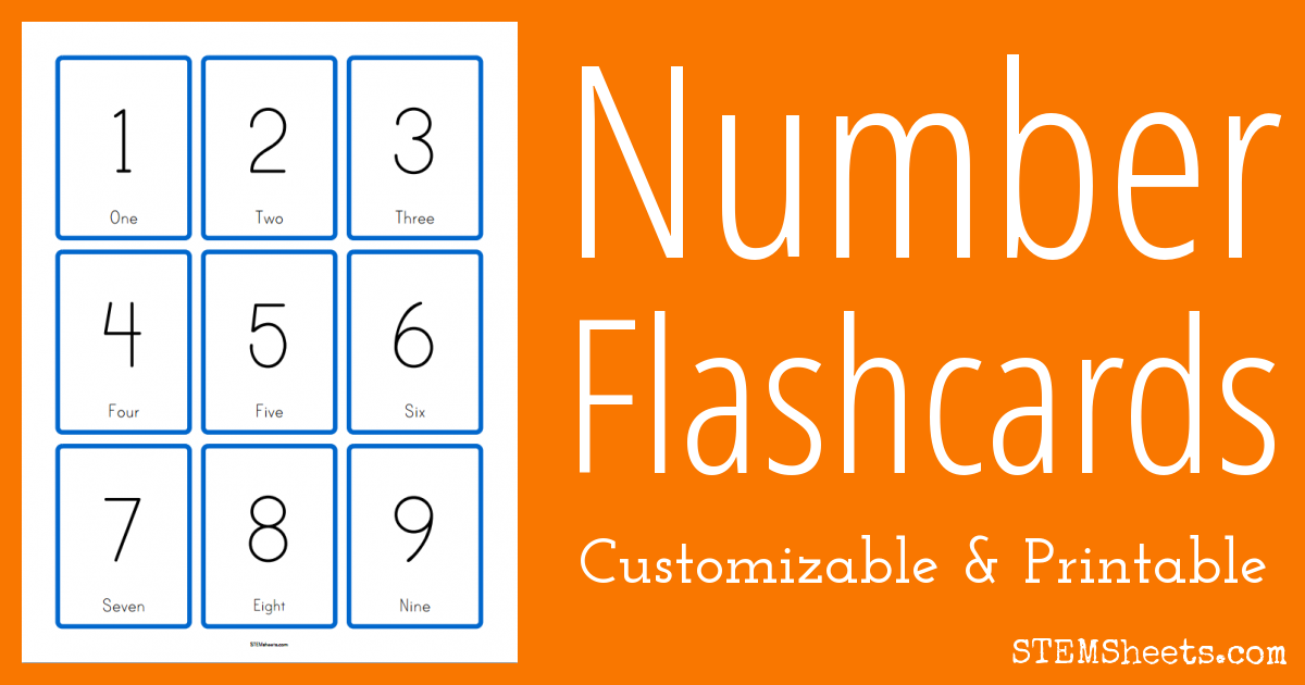 Customizable Number Flashcards | STEM Sheets