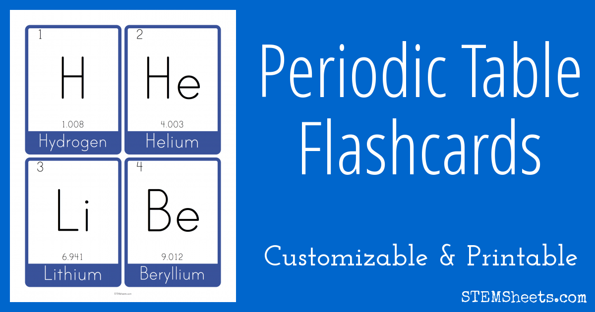 Periodic Table Flash Cards Stem Sheets