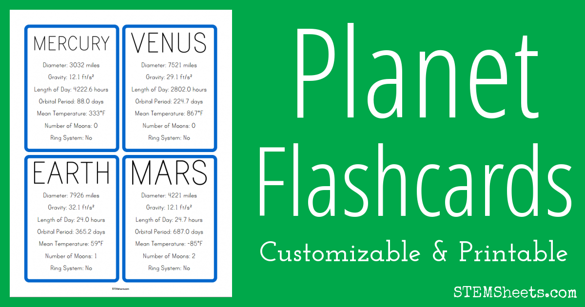 Planet Facts Flash Cards - STEM Sheets