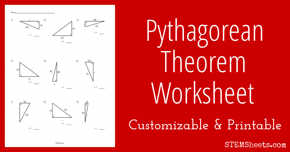 Pythagorean Theorem Worksheet Printable Stem Sheets