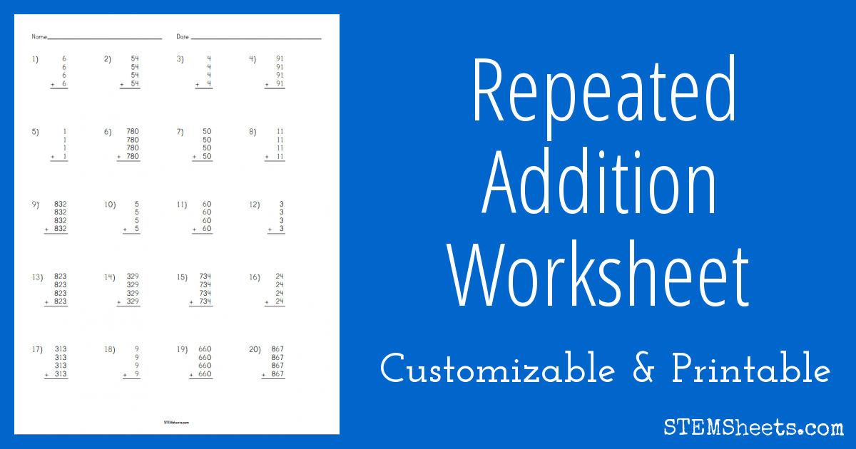 math worksheet : repeated addition worksheet  stem sheets : Repeated Addition Worksheet