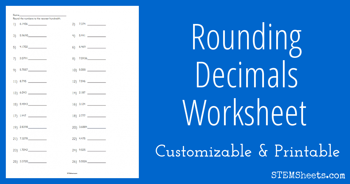 math worksheet : rounding decimals worksheet  stem sheets : Rounding Decimals To The Nearest Hundredth Worksheet