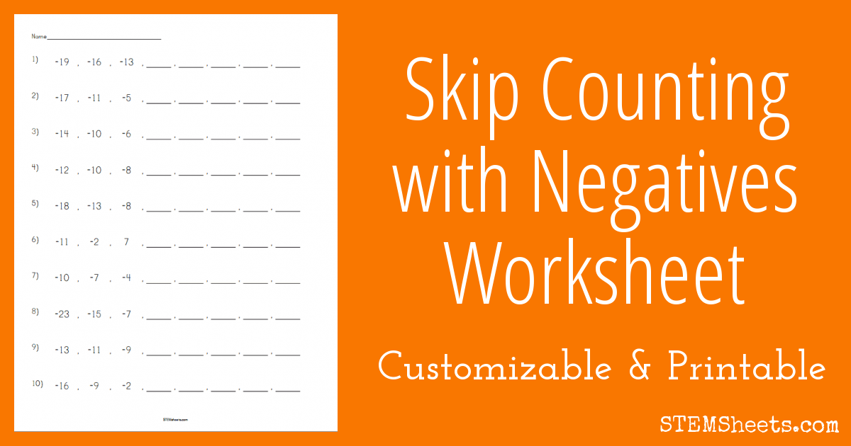 skip counting with negatives worksheet stem sheets. Black Bedroom Furniture Sets. Home Design Ideas