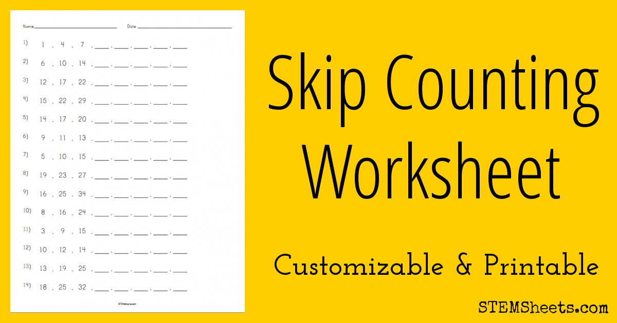 Skip Counting Worksheet | STEM Sheets