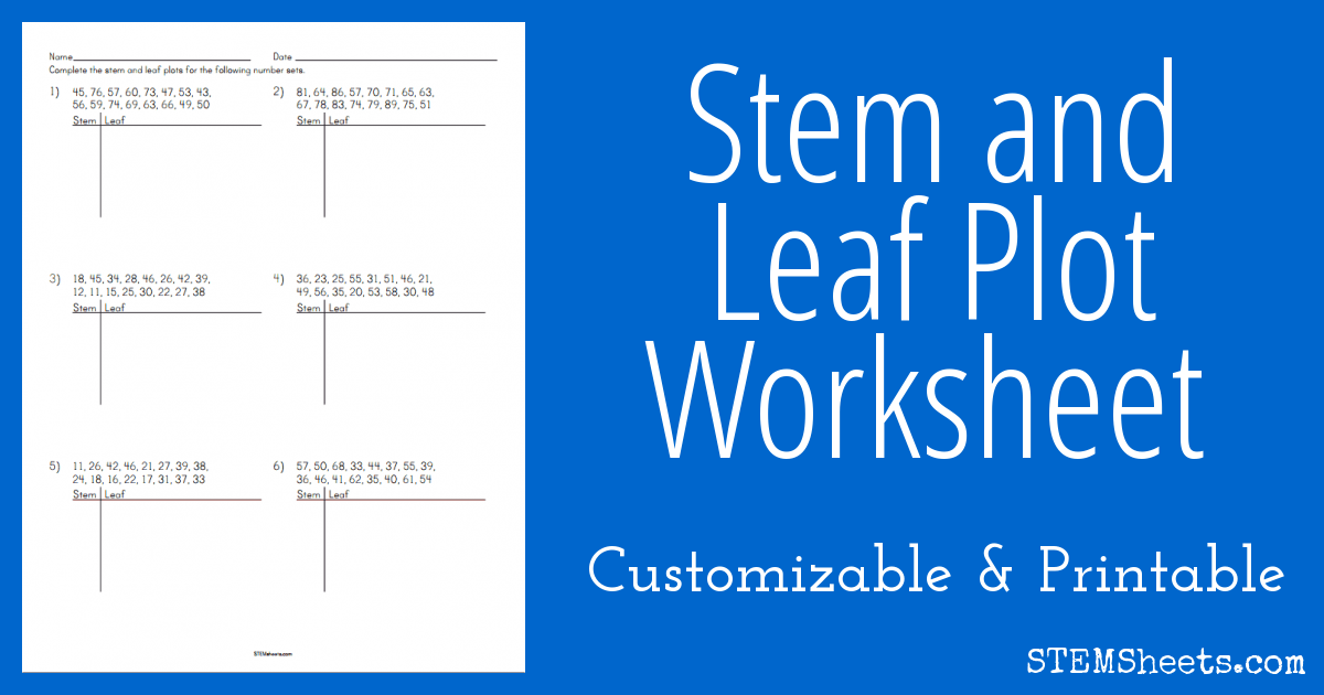 Stem And Leaf Plot Worksheet Stem Sheets