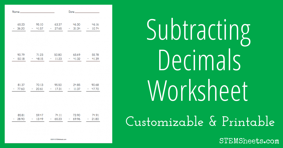 Subtracting Decimals Worksheet – Decimal Subtraction Worksheets