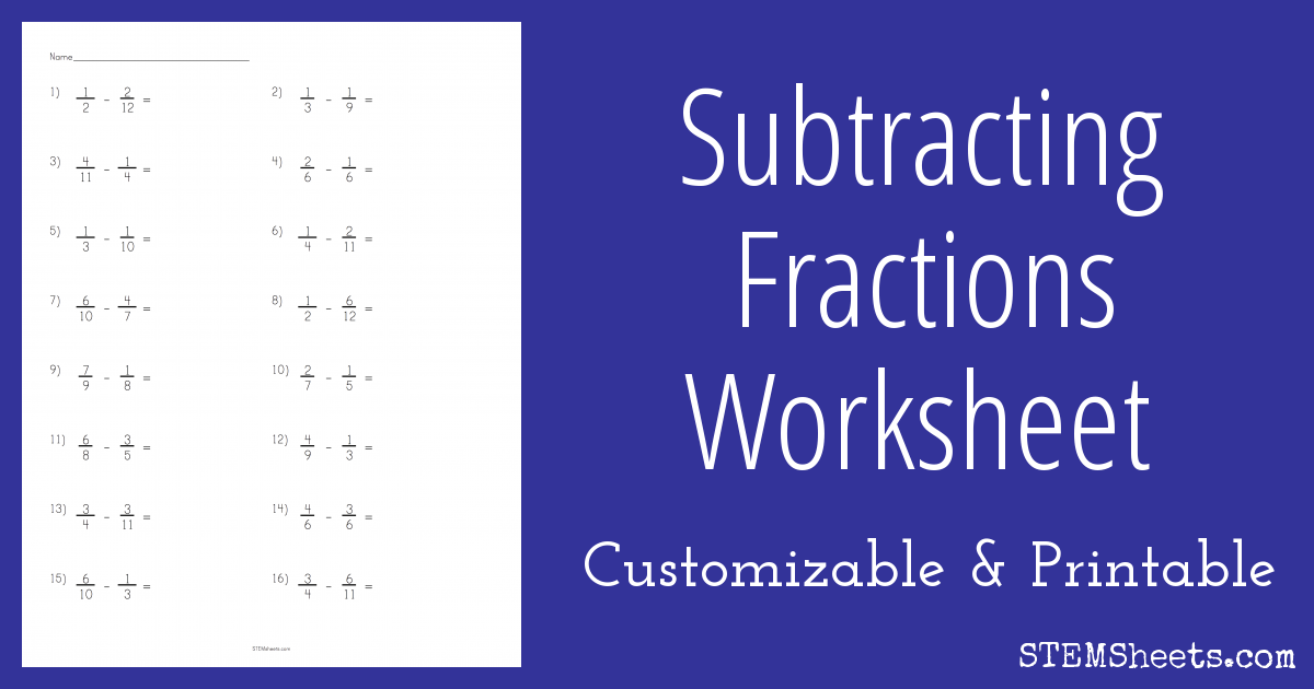 Subtracting Fractions Worksheet on math worksheets for 5