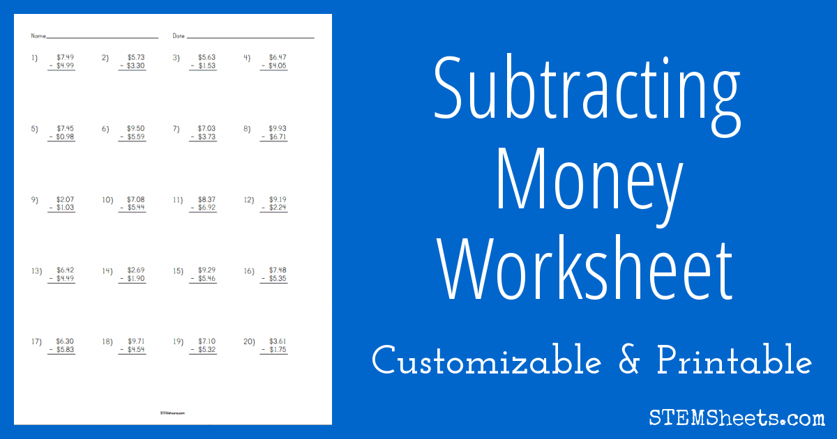 Subtracting Money Worksheet Stem Sheets