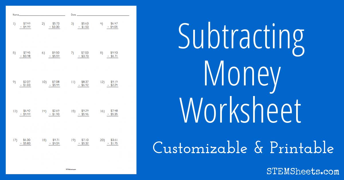 Subtracting Money Worksheet | STEM Sheets