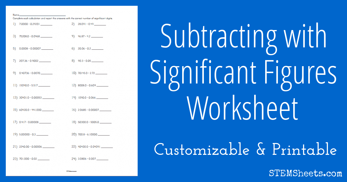 Subtracting With Significant Figures Worksheet Stem