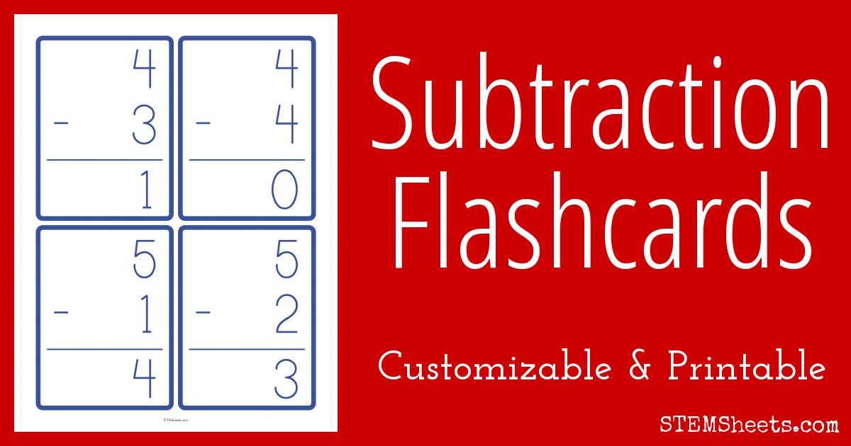 subtraction flash cards stem sheets. Black Bedroom Furniture Sets. Home Design Ideas