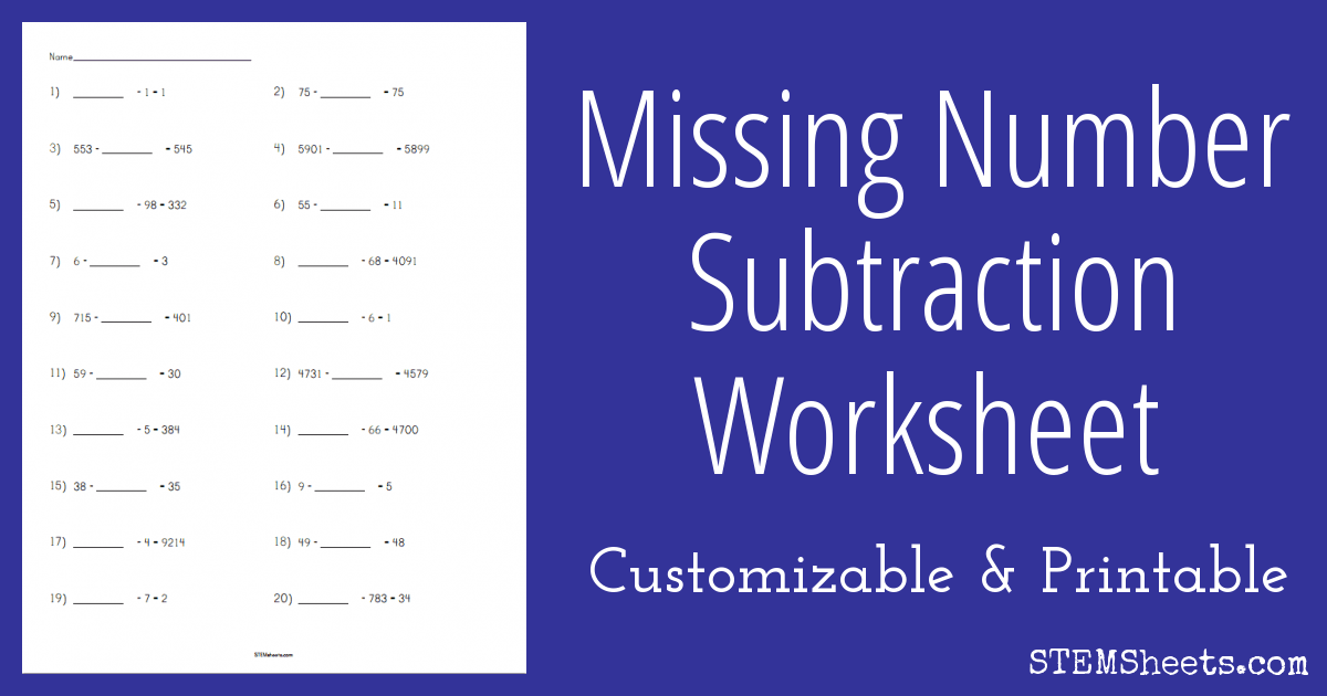 math worksheet : subtraction worksheet  missing number  stem sheets : Missing Number Subtraction Worksheets